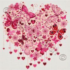 Hearts cross stitch kits