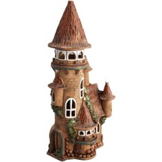 Fairy houses photos) Use a Pringles can. Clay Houses, Ceramic Houses, Miniature Houses, Miniature Fairy Gardens, Clay Fairy House, Fairy Garden Houses, Bottle Art, Bottle Crafts, Pottery Houses