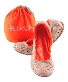 Natural & Orange Cutout Turquesa Leather Ballet Flat by Ballasox #zulily #zulilyfinds