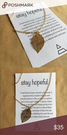 """Gold leaf Necklace Be leaf in yourself! 16"""" gold dipped chain and 1.5 inch gold leaf. Duality Jewelry Jewelry Necklaces"""