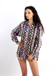 Vintage Cotton Aztec Navajo Geometric Multicolor Shirt by Ramaci