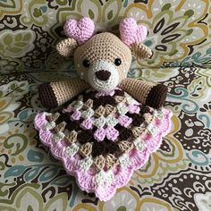 Crochet Deer Lovey Amigurumi Baby Shower Blanket Fawn