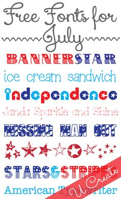 Free Patriotic Fonts for July We are always looking for fun fonts to use for our printables, vinyl designs, and other crafts. Here are some of our favorite patriotic fonts for July. Banner Star Ice Cream SandwichIndependenceJanda Sparkle and Shi Cute Fonts, Fancy Fonts, Silhouette Fonts, Silhouette Cameo, Computer Font, Cricut Fonts, Grafik Design, Vinyl Designs, Fourth Of July