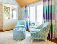 orange and blue striped curtains - Google Search