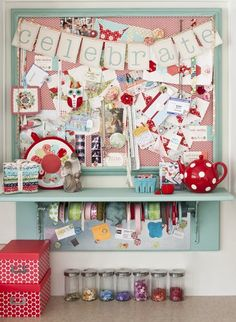 Make an inspiration board that also serves as creative storage. A shelf and magnetic board underneath allow extra space for a rod with ribbons, salt shakers filled with buttons, and storage boxes. Sewing Desk, Sewing Room Storage, Sewing Room Decor, Craft Room Storage, Sewing Table, Sewing Rooms, Craft Rooms, Storage Boxes, Sewing Spaces