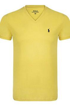 Polo Ralph Lauren V-Neck T-Shirt Custom Fit S-3XL versch. Farben, Farbe:Gelb;Größe:XL