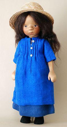 Girl in Blue Dress with Straw Hat by Elizabeth Pongratz