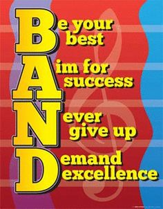 """Band Spirit Poster - Foster a spirit of teamwork and camaraderie with this 17"""" x 22"""" wall poster designed by graphic artist Amy Stewart. A Music in Motion exclusive!"""
