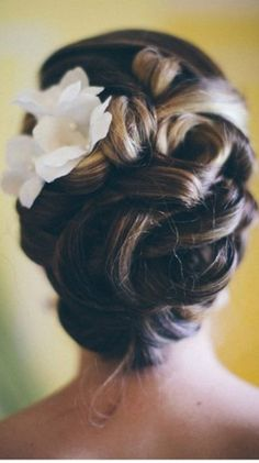 Perfect wedding updo. You could take it down and have pretty curls with minimal hairspray and bobby pins!