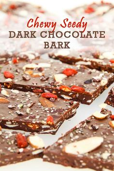 This Chewy, Seedy Healthy Dark Chocolate Bark is crazy good and has quickly become one of my favorite combinations. It's made with chia and hemp seeds, nuts and berries. Getting your chocolate fix doesn't need to be unhealthy! Easy No Bake Desserts, Vegan Dessert Recipes, Delicious Vegan Recipes, Vegan Sweets, Gluten Free Desserts, Whole Food Recipes, Yummy Food, Salad Recipes, Free Recipes