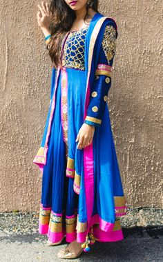Long Anarkali double layer blue shaded georgette by VastraClothing