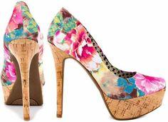 1d332301d58d Tropical Floral Print Cork Heel Dress And Heels