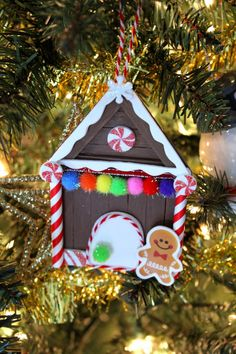 These Popsicle Stick Gingerbread House Christmas Ornaments are an adorable and festive holiday craft that make for great keepsake gifts. Kids Christmas Ornaments, Preschool Christmas, Christmas Gingerbread, Christmas Crafts For Kids, Holiday Crafts, Christmas Diy, Christmas Decorations, Xmas, Popsicle Stick Crafts For Kids
