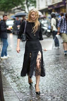 Haute Couture Fall 2014 - Julia von Boehm in Wes Gordon skirt #StreetStyle