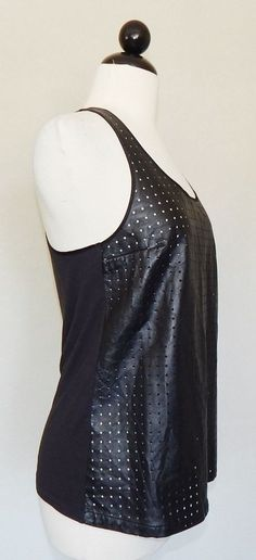 ROZAE NICHOLS Black Perforated Leather Tank Racerback Knit Back Top Sexy Size S #RozaeNichols #TankCami #Casual