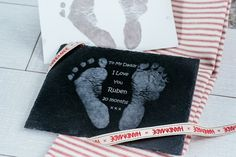 Engraved footprints in slate