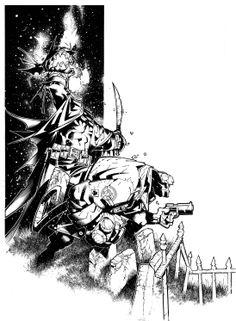 Batman-O'-Lantern and Hellboy by Chris Bachalo *
