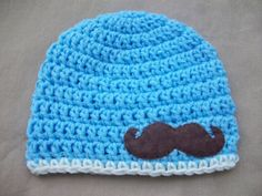 Baby Boy Crochet Hat in Blue with Felt by AngieHallHaviland, $15.00