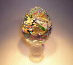 Contemporary Glass Sculptures by Fine Art Glass Artist Jack Storms. Fine art glass designs created from dichroic glass encased into pure lead crystal. Glass Paperweights, Dichroic Glass, Glass Vase, Form Design, Art Of Glass, Stained Glass Art, Jack Storms Glass, Glass Marbles, Glass Design
