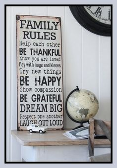 I'm going to take little boards from Walmart and put each of these sayings on each of them and hang them all over my living room wall! Family Rules Sign, Family Quotes, Happy Show, Party Decoration, House Rules, Great Words, Sign Quotes, My Living Room, New Room