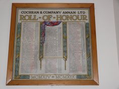 The Scottish War Memorials Project : Cochran and Company, Boiler Manufacturers Roll of Honour WW1, Annan
