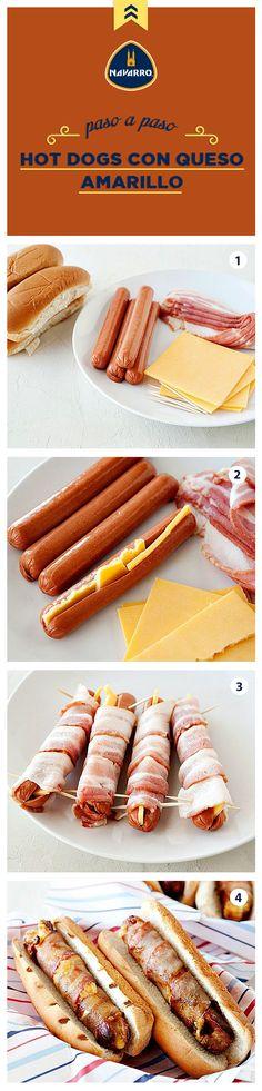 Rellena tus hot dogs de rico Queso Amarillo NAVARRO y envuélvelos en tocino para darles ese toque delicioso que tu familia no podrá resistir.