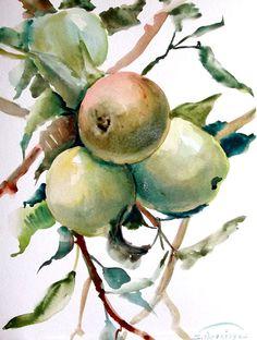 Red apples, original watercolor painting
