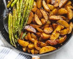 Garlic Balsamic Baby Potatoes With Asparagus - A gorgeous, flavorful side dish that makes an easy addition to any grilled meat.