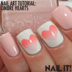 DIY Nail Art: Spread a little love this season by sprucing up your nails with this ombre heart design!