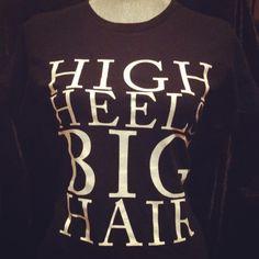 "I need this t-shirt! ----> Black & white: ""HIGH HEELS BIG HAIR"" by Bella | Natural Girls Rock® #tshirt"