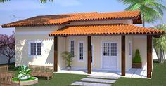 Projeto de uma casa térrea coberta em telha de barro, com telhado em várias águas, composta por 3 quartos sendo um deles suite, cozinha, sala de estar e jantar conjugados, varanda e área d...