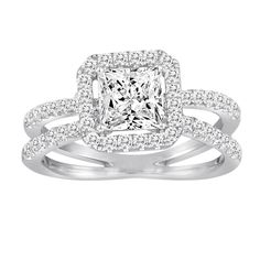 18K White Gold Split Shank Halo Engagement Ring with .69ctw of diamonds (6mm princess cut center stone displayed, can be modified for any shape or size center. Center stone sold separately) - Diadori @ Pauling Blue Fire Diamonds
