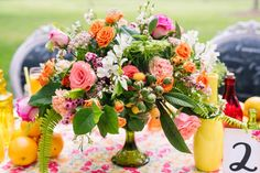 Bright Floral Centerpiece by Country Club Flower Shoppe - Citrus Inspiration Shoot - Photo by Two Twenty Photos - Coordinated by Pearl White Events - click pin for more - www.orangeblossombride.com