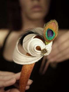 Fancy Sculptural Felt Headband with Feathers  Made by pookaqueen, $56.00