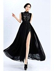 Women's Lapel Lace Top Floral Ball Gown Hem S... – USD $ 31.19