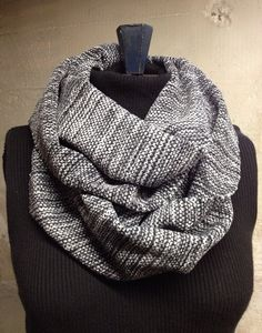 Handwoven Chenille Infinity Scarf Charcoal  by EmilyAliceWeaving