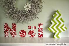 My Christmas Mantel with crafts made using Tonic Living fabric. #tonicliving #blogpodium #tonicfabricfun