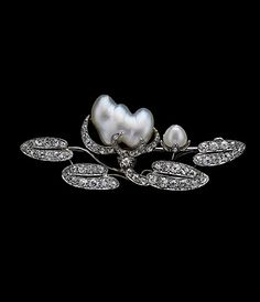 Lotus Flower brooch c1900 in platinum, pearls, diamonds (Albion Art)