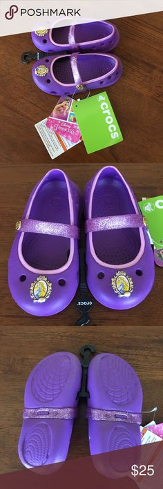 🆕Crocs Disney Princess Rapunzel Keeley Flat NWT | Size: C6 | Color: Amethyst | Iconic Crocs Comfort | Croslite foam cushion | Lightweight | Non-marking | Odor-resistant | Comes from a smoke-free, pet friendly home | NO TRADES | Reasonable offers always welcome! 😊 CROCS Shoes
