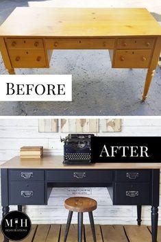 Step-by-Step Guide, Industrial Desk Makeover — Market House Restorations Desk Makeover, Furniture Makeover, Desk Redo, Refurbished Furniture, Repurposed Furniture, Refinished Desk, Furniture Projects, Diy Furniture, Furniture Design