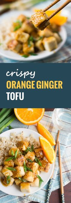 This crispy Chinese-inspired orange ginger tofu is made by smothering crispy pan-fried tofu chunks in a sweet, gingery orange sauce.