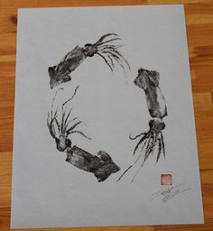 Squid Wreath (ika no hanawa) GYOTAKU print - traditional Japanese fish art -  by dowaito