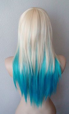 Blonde Teal Turquoise this is how my hair will be soon!!! :) Medium layered by kekeshop