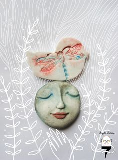 Air dry clay brooches - modeled by hand an painted with watercolors