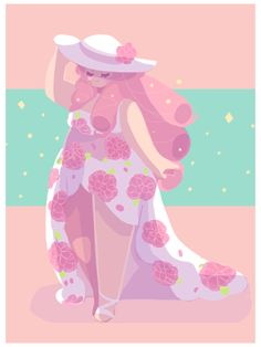 """OP: """"I went ahead and got out my spring clothes and found my favorite dress ;u; I had to draw Rose Quartz in it"""" 
