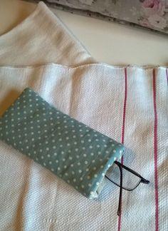 Duck Egg Polka Dot Linen Glasses Case by gillyflowerdesigns on Etsy