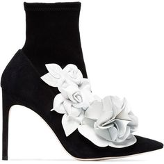 Sophia Webster Black Suede lilico Flower 105 boots ($728) ❤ liked on Polyvore featuring shoes, boots, black, sophia webster shoes, suede boots, sophia webster, suede shoes and kohl shoes