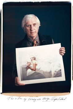 "Photographer Douglas Kirkland poses with his famous image ""Evening with Marilyn."" It's part of Tim Mantoani's series ""Behind Photographs."""