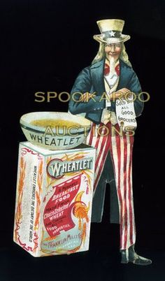 Scarce Wheatlet Breakfast Food Die Cut Uncle Sam Victorian Trade Card