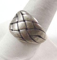 Vintage 925 Sterling Silver James Avery Basket Weave Ring Sz 11.5 (9.4g)-464382 #Cocktail
